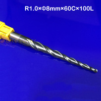 1PC D8mm R1 0 60 100L 2F HRC55 CNC NANO Coated Solid Carbide End Mill Woodworking
