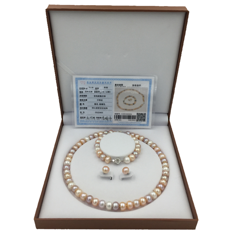 Sinya Natural Pearls Jewelry set with 9 10mm 18inch colorful pearls Strand necklace bracelet and earring
