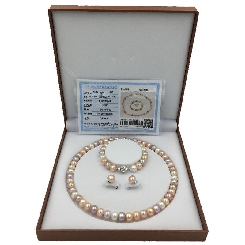 Sinya Naturale Gioielli di Perle set con 9 10mm 18 pollici di perle colorate Filo del braccialetto della collana e orecchini per delle donne di alta lucentezza-in Parure di gioielli da Gioielli e accessori su  Gruppo 1