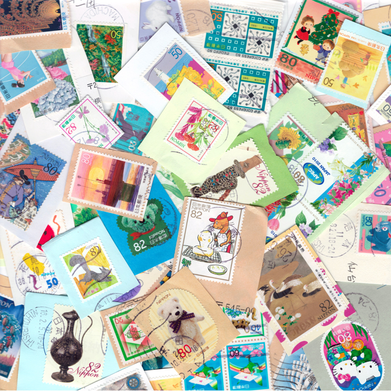 100 PCS / LOT Japan Used With Post Mark Off Paper Special Commemoration Random Good Condition Timbres Postage Stamps used 100