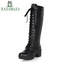 ZALAVOR Plus Size 33 48 Women Platform Black Shoes Women'S Lace Up Square High Heels Boats Knee High Warm Boots Add Fur Inside
