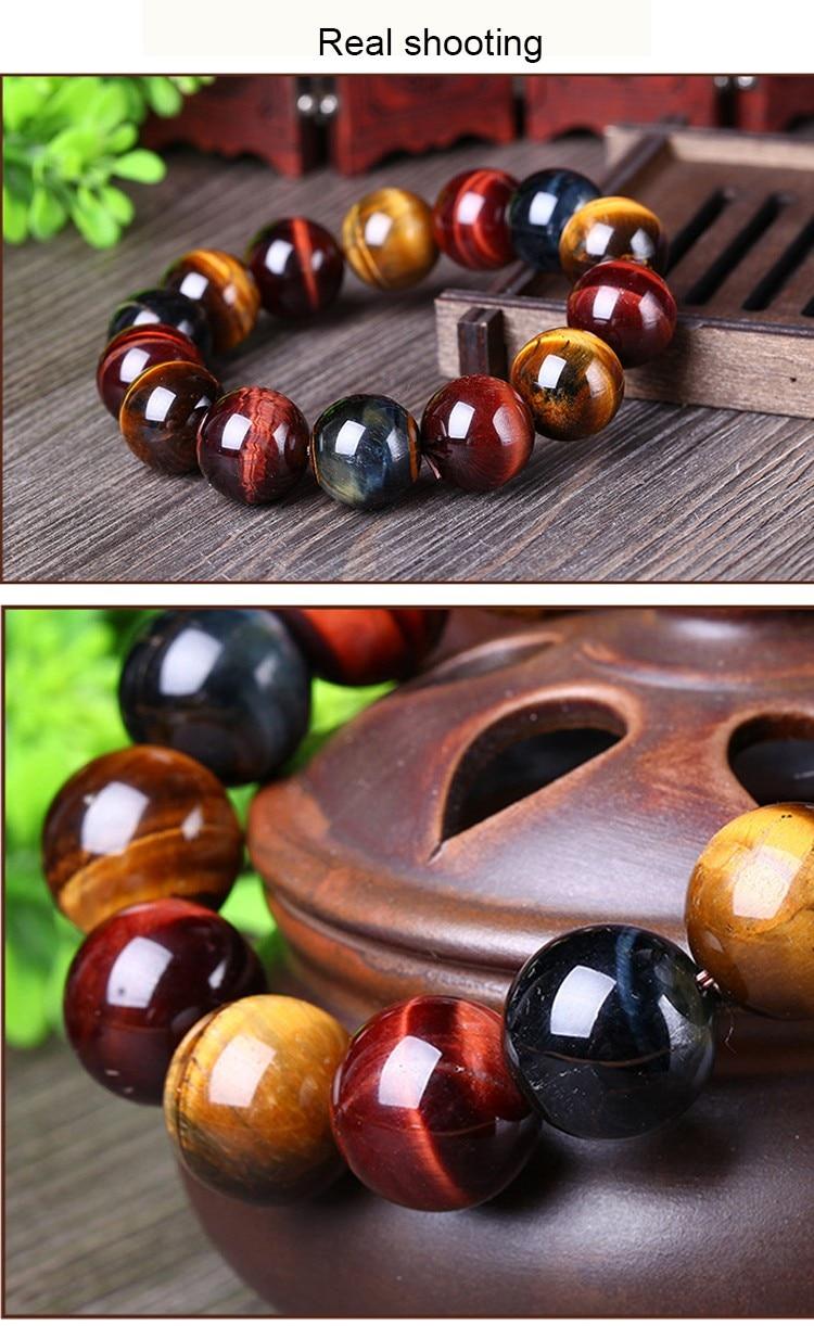JoursNeige Natural Color Tiger Eye Stone Bracelet 12-mm Beads Crystal Bracelet for Men Women Lucky Bracelet Jewelry 3