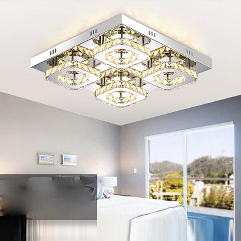 Modern Rectangle Bedroom Led Ceiling Lamp Crystal Living Room Ceiling Lamp Balcony Light Warm White (3500-4500K) Indoor Lightin