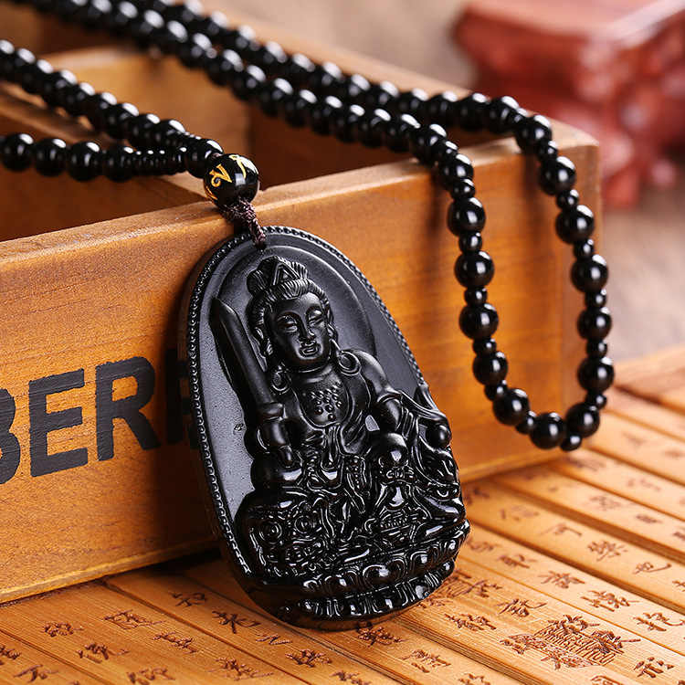 High Quality Obsidian Buddha Fox Pendant Necklace Bradde Chain Bead Chain For Women Men luck Necklace Belief Necklace Jewelry
