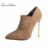 Rumbidzo Women Boots 2017 Fashion Style Ankle Boots Stretch Cloth Winter Short Plush Bootie Sapatos Botas