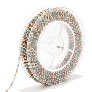 Image 4 - 8 meter Miyuki Zaad Glass Bead Chain 1.8mm Rvs Satelliet Kralen Tiny Ketting Voor Ketting Enkelbandje Armband Maken