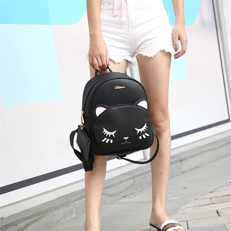 ACE LOVE women black cat rucksack cute shoulder composite bag hotsale lady purse shopping bags preppy style student packpack 6