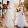 Элегантный Тюль Пляж Свадебные Платья 2017 Милая Кружева line Простые Дешевые Свадебные Платья Страна trajes де novias 2017