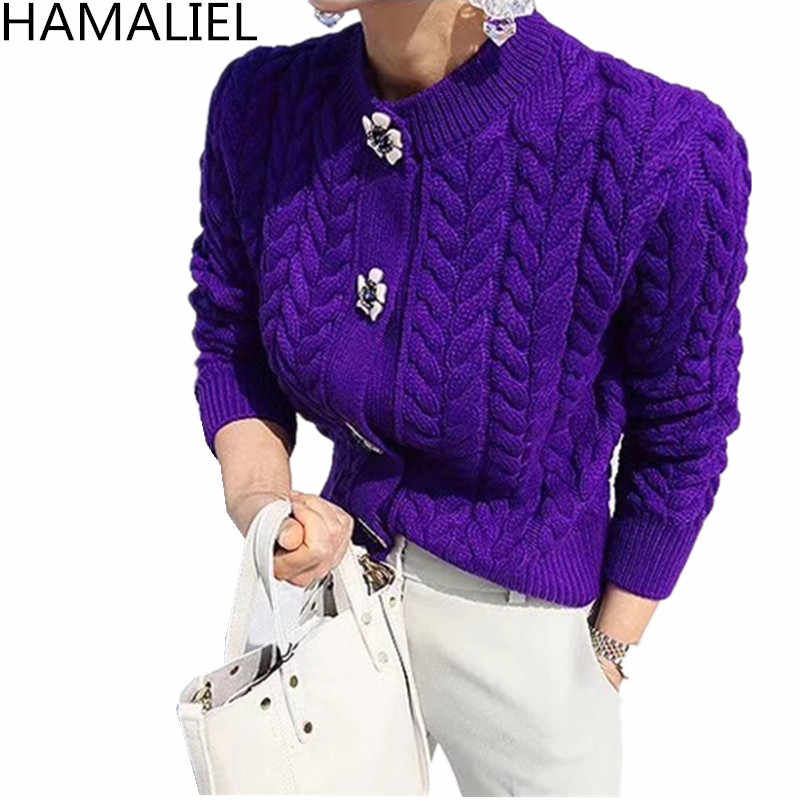Hamaliel Musim Gugur Wanita Kardigan 2019 Fashion Single Breasted Lengan Panjang Merajut Wol Wanita Kasual Slim Elegan Sweter Mantel