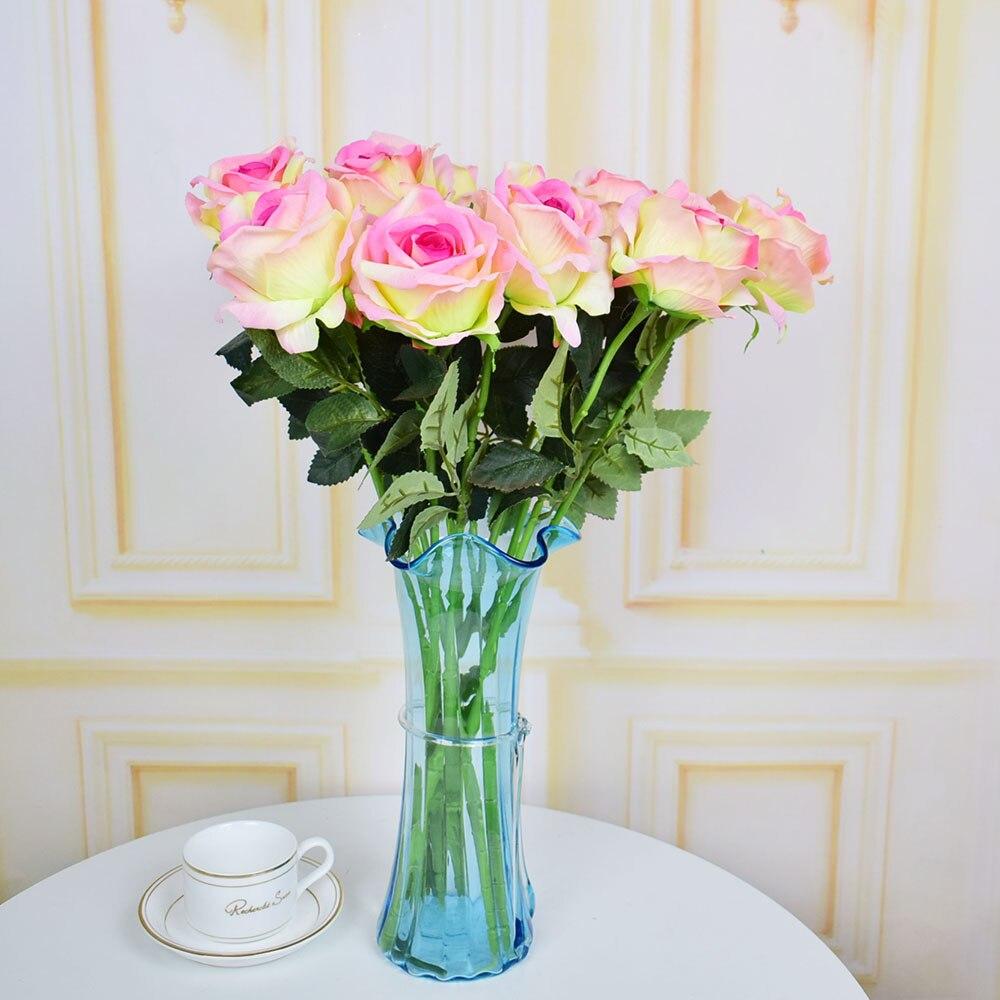 7pcs Velvet roses artificial flowers for home wedding table ...
