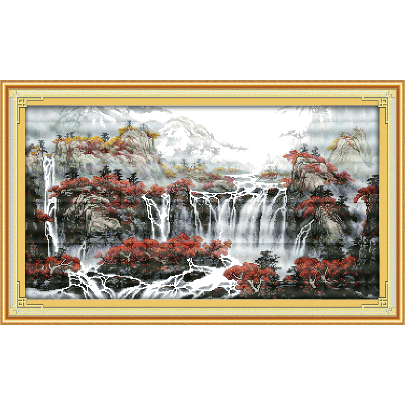 Package Lovely Everlasting Love Christmas Autumn Mountain With Fountains Ecological Cotton Chinese Cross Stitch Kits Stamped 11ct 14ct New Year Soft And Antislippery Arts,crafts & Sewing