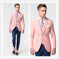 2016 Fashion Casual Mens slim fit blazer Suit Jacket red stripe seersucker blazers for men