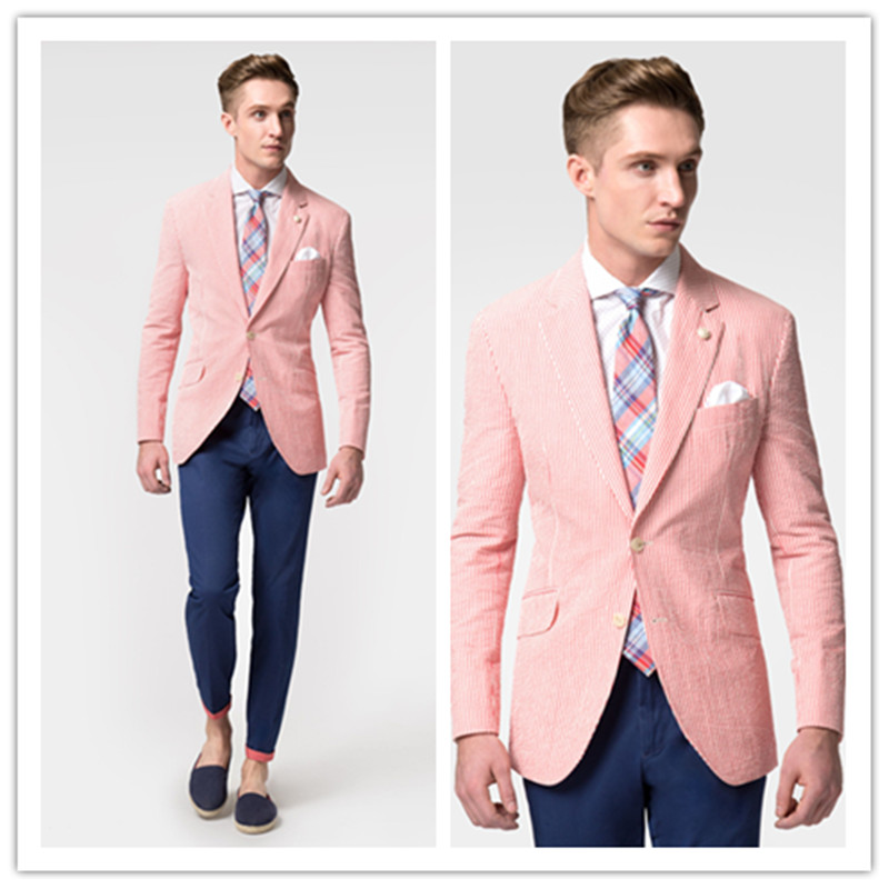 New Fashion Casual Mens slim fit blazer Suit Jacket red stripe seersucker blazers for men