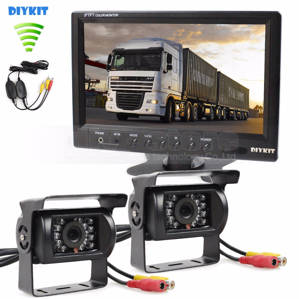 DIYKIT Wireless 12VDC 9inch Rear View Monitor Car Monitor + Rear View Waterproof CCD Car Camera for Bus Horse Trailer Motorhome diykit wired 12v 24v dc 9 car monitor rear view kit backup waterproof ccd camera system kit for bus horse trailer motorhome