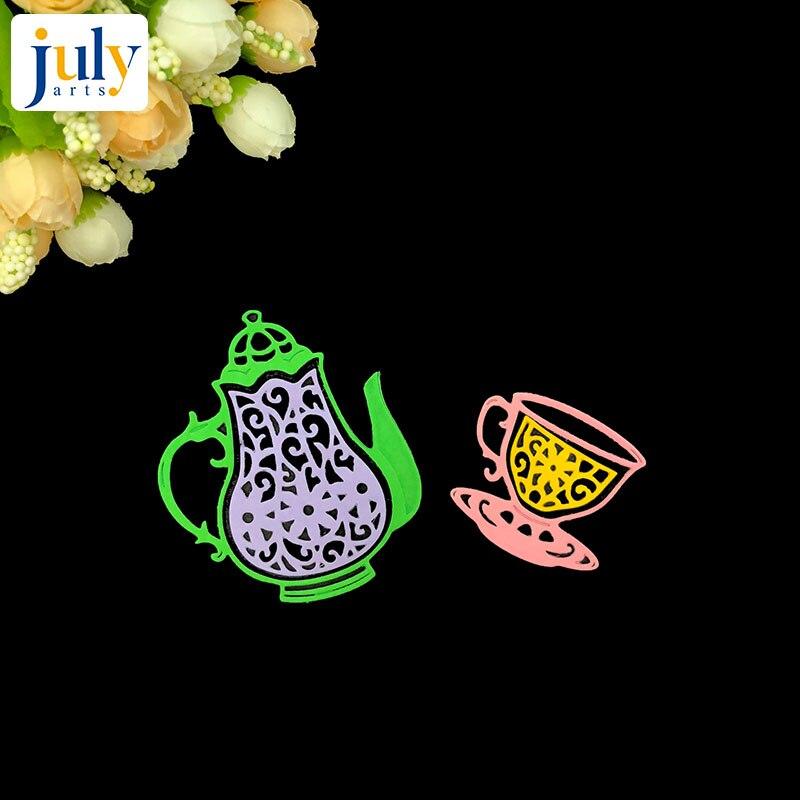 Julyarts Scrapbooking Cutting Dies Afternoon Tea Drinkware Teapot Teacup Tableware Cut Template Die Cards Paper DIY in Cutting Dies from Home Garden