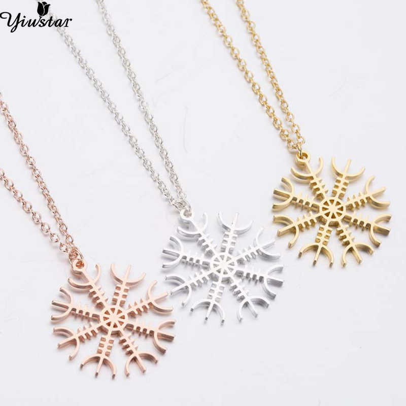 Yiustar Women Fine Jewelry Christmas Snowflake Necklaces Pendants Round Stainless Steel Choker joias feminina Statement Jewelry
