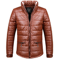 Faux Leather Men Parka 2016 Winter Solid Color Thick man Jacket Windproof Slim Fit Keep Warm Hombre coats outwear M-XXXL