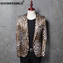 SHOWERSMILE Leopard Blazer Men DJ Stage Suit Jacket Men's Party Print Blazers Plus Size 4XL 5XL Male Fashion Spring Singers Coat(China)