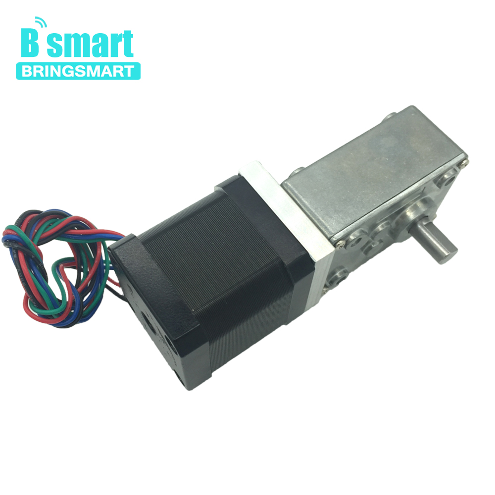Bringsmart A58SW-42BY 12 Volt DC Stepping Geared Motors 24V Worm Stepper Gear Motor Reduction Machine Self-locking Mini Gearbox bringsmart worm gear motor 12v dc stepper motors reducer self locking mini gearbox 24 volt micro electric tool a58sw 42by
