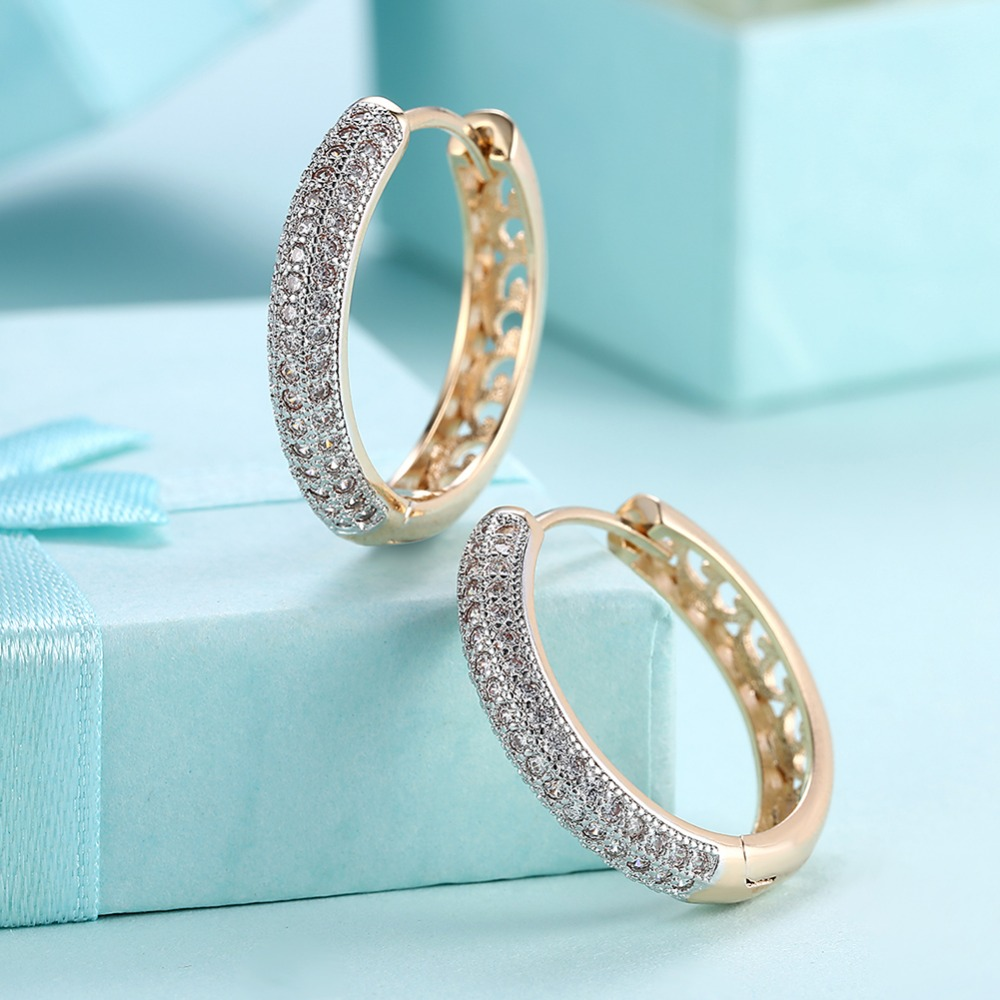 Hot Sales Gold Color 24mm Circle Hoop Earrings With AAA Zircon Woman Fashion Jewelry Beautiful Cute Party Gift Brincos Feminino