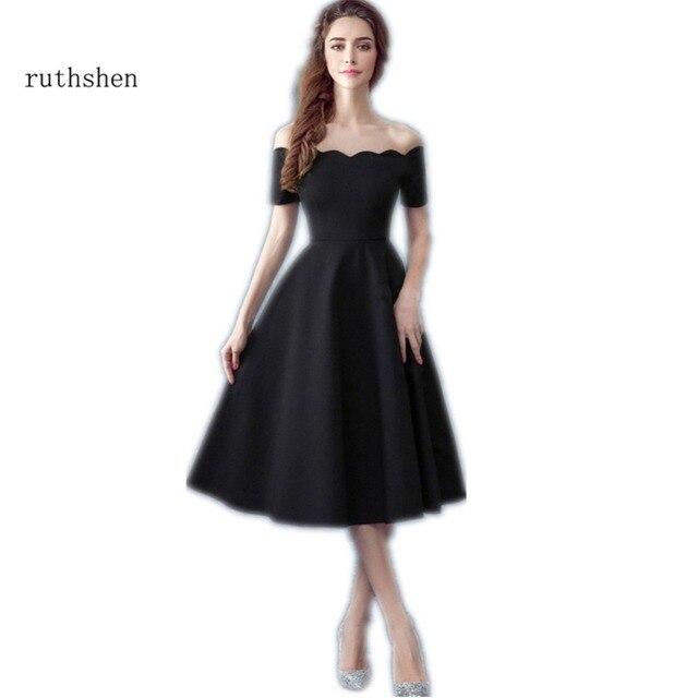 4f3fa80fdda Ruthéshen Simple petites robes de bal noires pas cher épaule dénudée drapée  dames robe de soirée