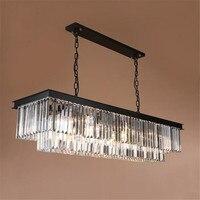 Minimalist Luxury Modern Rectangle K9 Crystal Chandelier Light For Living Room Lustre Long Hanging Chandelier Luminaire