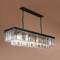 Minimalist Luxury Modern Rectangle K9 Crystal Chandelier Light For Living Room Lustre Long Hanging Chandelier Luminaire