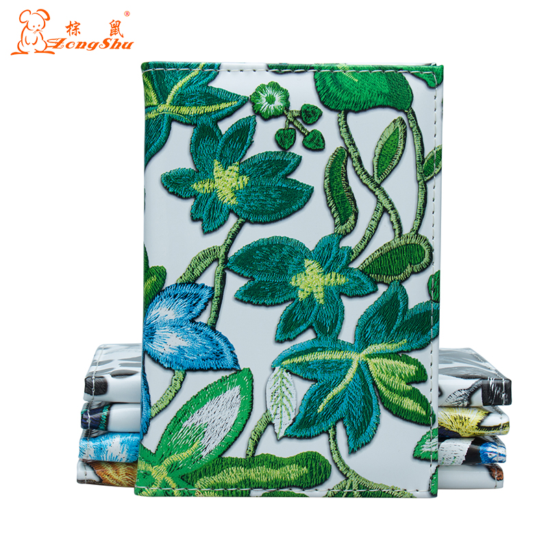 Purple flowers and green leaves Printing PU Leather Passport Holder with Inner Film Holder Passport Cover for travel