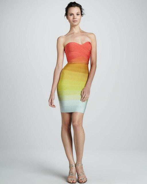 2013 new colour Fashion knitted Elastic HL Bandage Dress  Ladies Sexy Club Night Dress rainbow colour dress