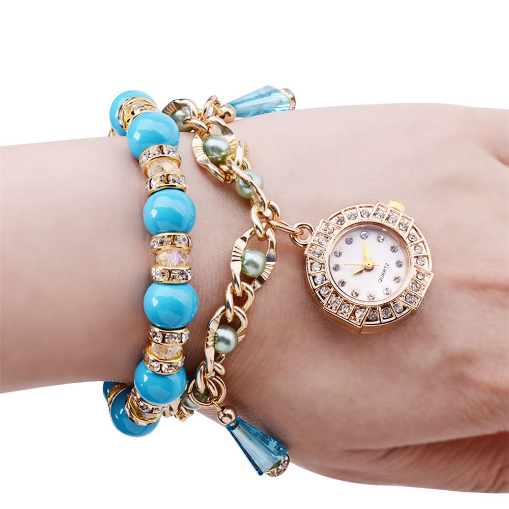 glass beads wrist watch