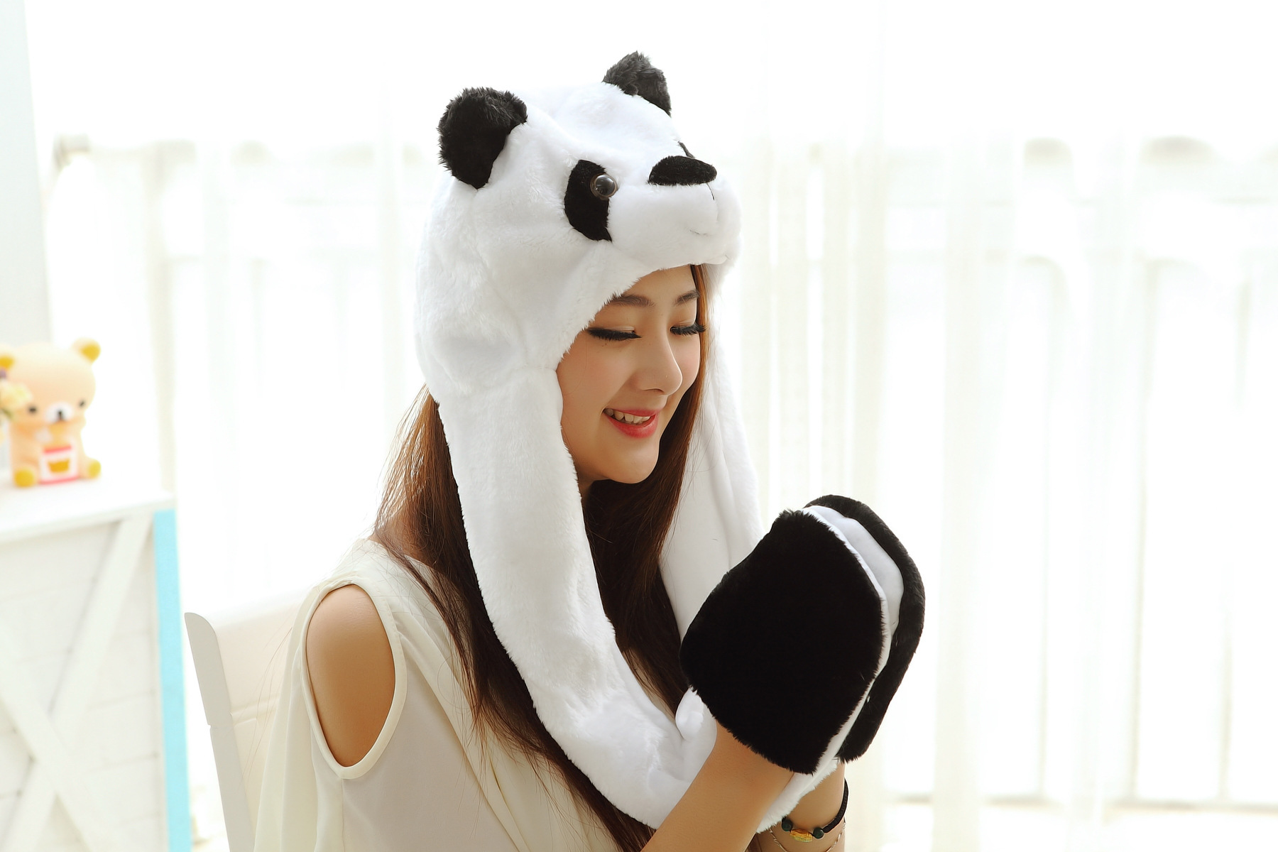 Long Panda plush cartoon hat Hat scarf gloves one Winter women cute hat High-quality cotton