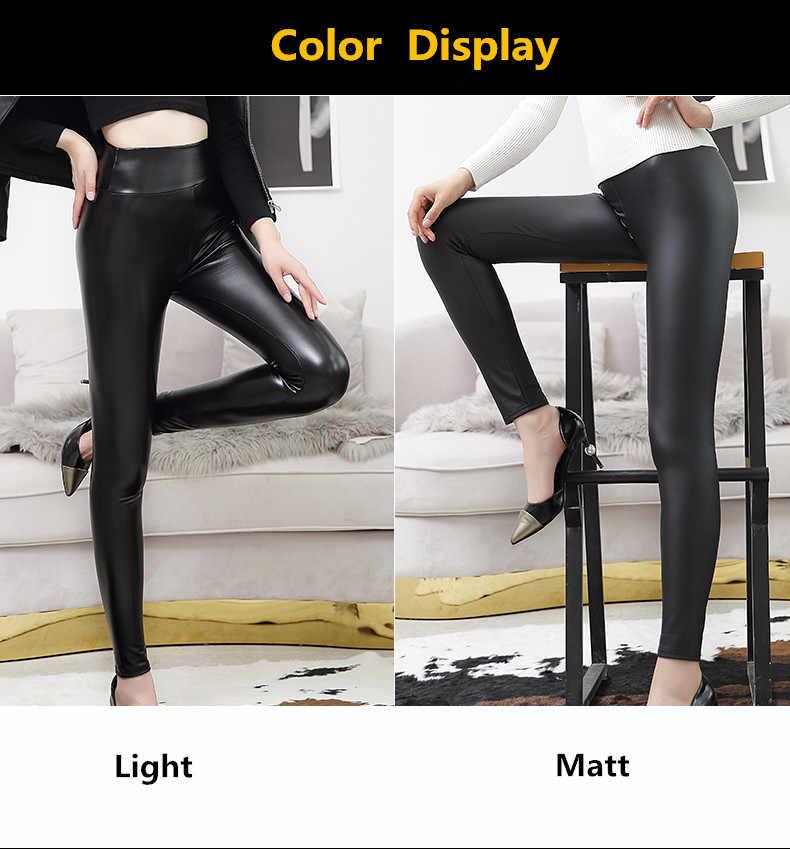 5d1b5451312 ... Everbellus Fitness Leather Leggings for Women Black Light Matt  Thin Thick Femme Fitness PU Leggings Sexy Push Up ...
