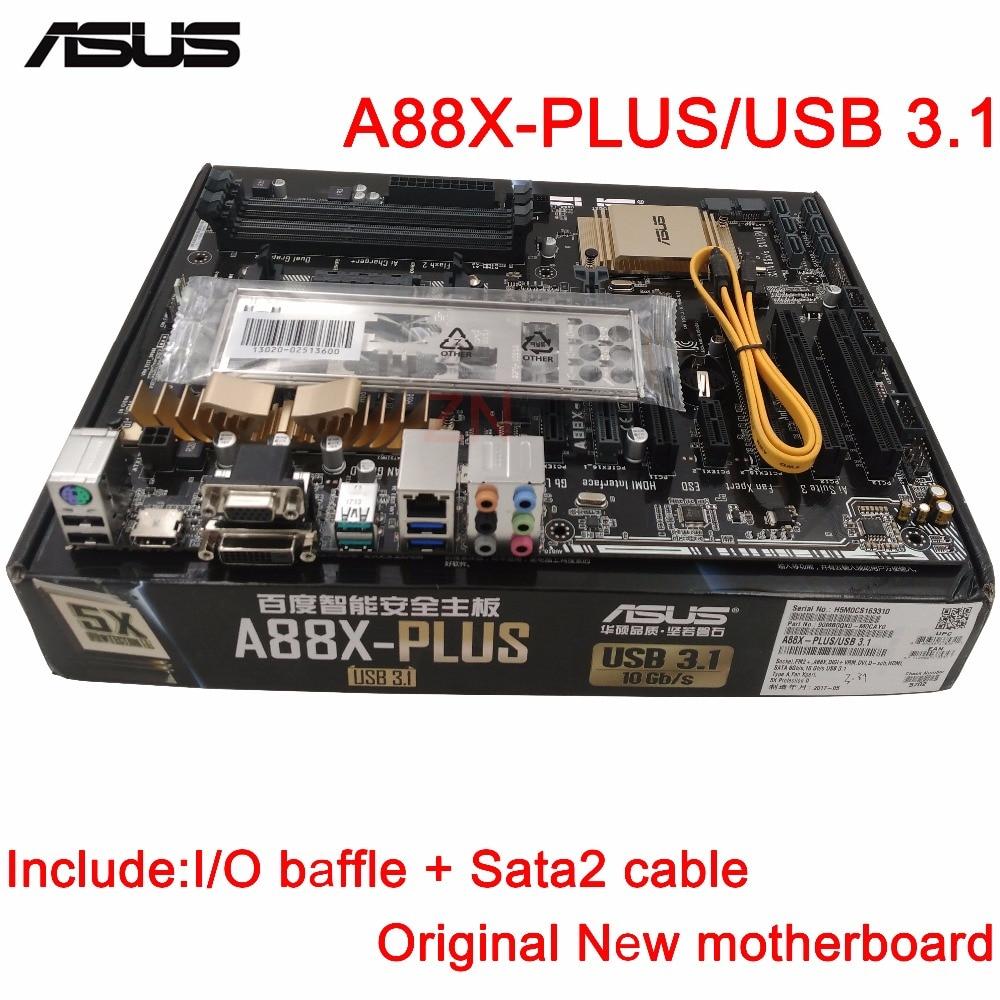 original New Desktop motherboard ASUS A88X-PLUS/USB 3.1 mother board Socket FM2+ 4*DDR3 2133/1866/1600/1333 support 64G 6*SATA3