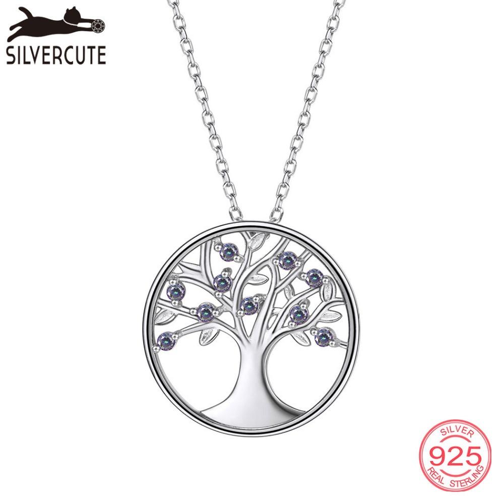 Silvercute Multicolor Mystic Topaz Tree Life Teclace Natural Gemstone - Նուրբ զարդեր - Լուսանկար 1