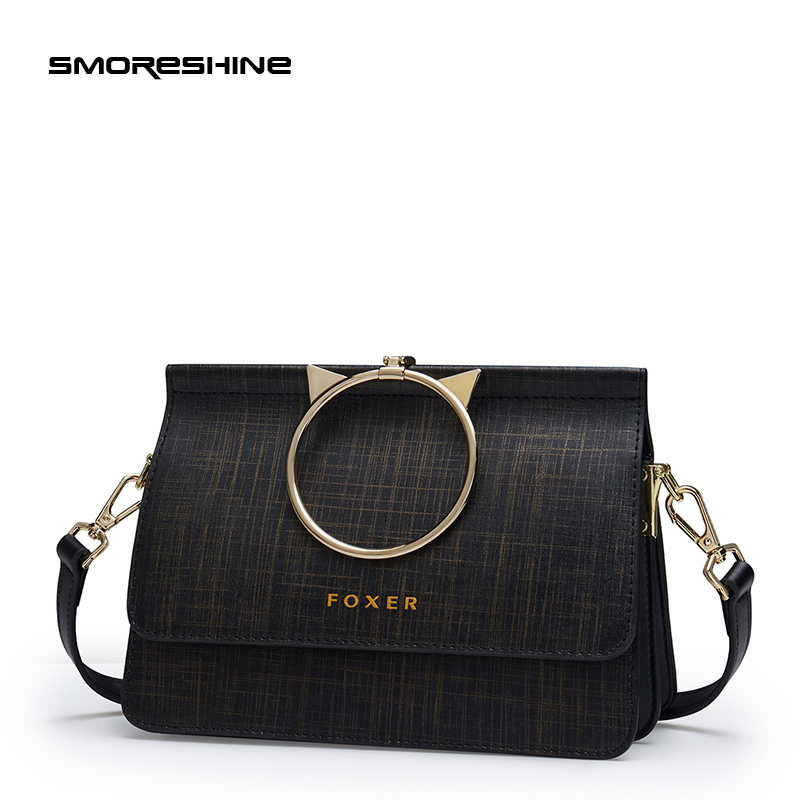 SMORESHINE elegant genuine leather women bags Female Metal ring design crossbody bag women's leather shoulder bag flap 3 colors аксессуар fillinn fl018 очиститель тормозных дисков аэрозоль 520мл