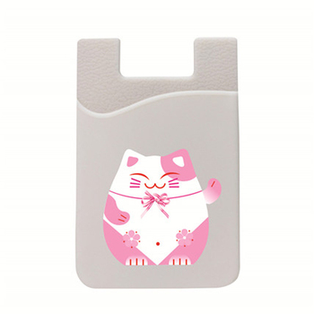 Silicone Cell Phone Wallet Credit ID Card Holder Phone Pocket Stick On 3M Adhesive Kawaii Cartoon Animal Print Do Customize Сотовый телефон