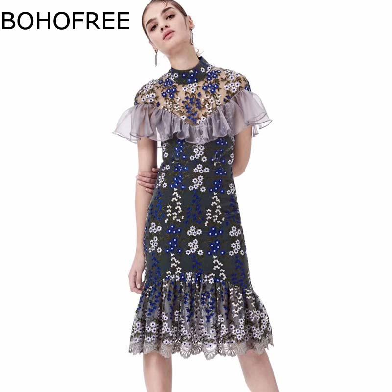 BOHOFREE Piste Robes O Cou Gaine Robe Moulante Floral Jabot Robes Femme Sheer Mesh Midi Robe Club Même Partie Robe