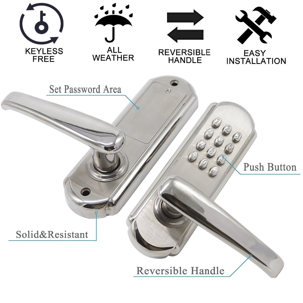 Probrico Stainless Steel Keyless Combination Mechanical Door Lock No Power Push Lever Code Locks For Home Furniture Hardware
