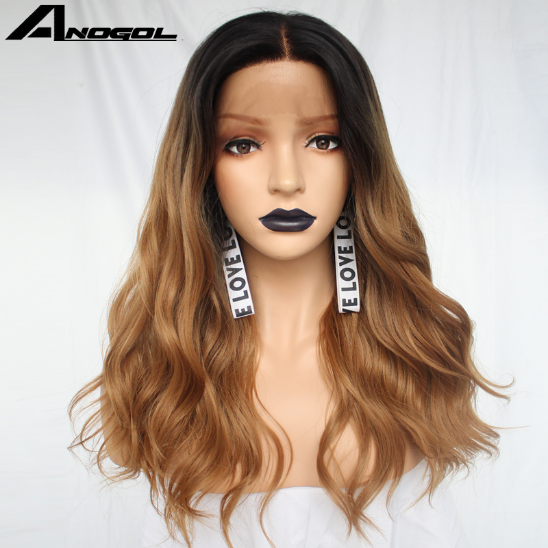 Anogol Futura Peruca 360 Frontal Wigs Black Ombre Brown Long Body Wave Synthetic Lace Front Wig For American Women-in Synthetic None-Lace  Wigs from Hair Extensions & Wigs    3