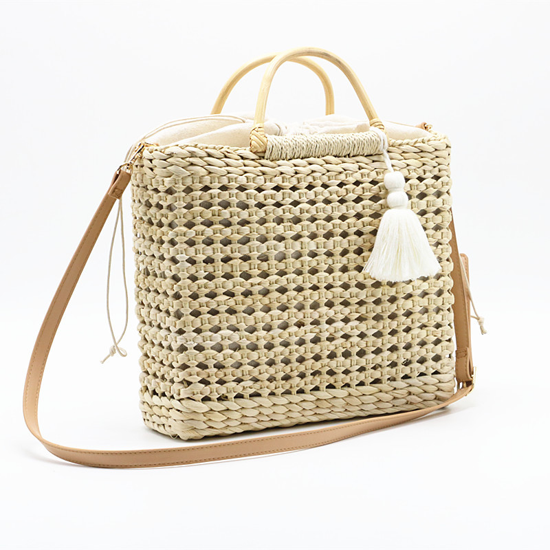 <font><b>REREKAXI</b></font> Handmade Women Shoulder Bag Bohemian Summer Beach Bags Straw Woven Female Handbag Messenger Crossbody Bags Tassel Tote image