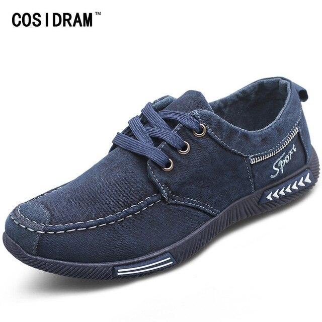 Cosidram холст Мужская обувь деним Кружево-Up Для мужчин повседневная обувь Новый 2017 пары тапочек дышащая мужская обувь Демисезонный rme-252