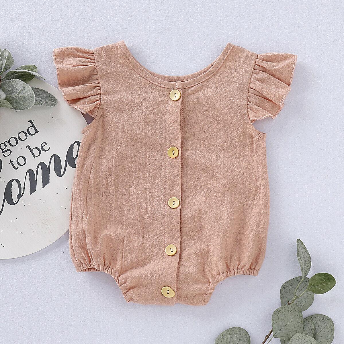 Summer Newborn Infant Baby Girls Boy Linen   Romper