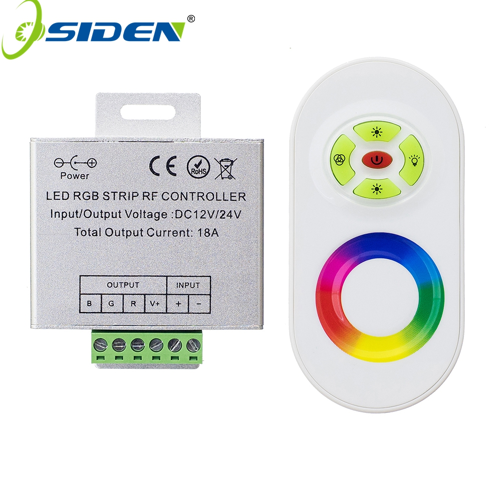 цена OSIDEN DC 12V-24V Wireless RF Touch Panel Dimmer RGB Remote Controller 18A RGB Controller for 3528 5050 RGB LED Strip Light