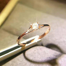 Boho Female Crystal Zircon Stone Ring Cute Small 925 Silver Rose Gold Color Finger Promise Engagement Rings For Women