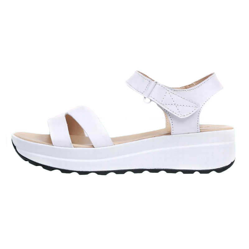 Plardin Neue Frauen Schuhe Sommer Schmale Band Schnalle Stil Flache Ferse Weiche Leder Casual Ankle Strap Frau Strand Sandalen