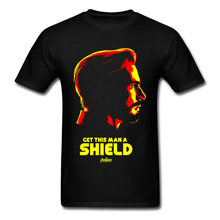 Cool T Shirt Captain America Get This Man A Shield Tshirt Outline Men's Fashion Casual Brands Tee Shirts For Guys Agent T Shirt(China)
