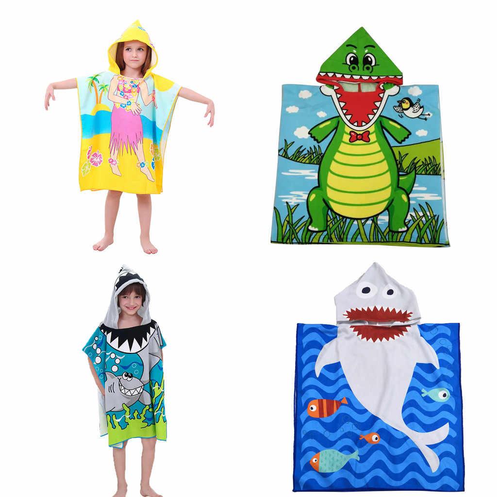 Пляжное банное полотенце с капюшоном для малышей, мягкое пончо для бассейна с акулой, накидка для мальчиков, детский От 1 до 12 лет банный халат, K704