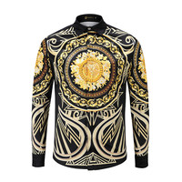 ESDAF 3D Luxurious Brands Harajuku Ntyle Gold Printing Shirt Male Lapel Long Sleeve Shirt Apparel Camisas