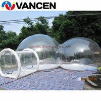 4mH Double rooms tent home used inflatable games transparent bubble tent cheap inflatable clear dome tent for camping