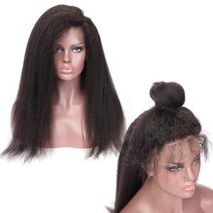 Image 2 - איבון קינקי ישר תחרה מול שיער טבעי פאות שיער ברזילאי לא מעובד שיער פאה טבעי צבע